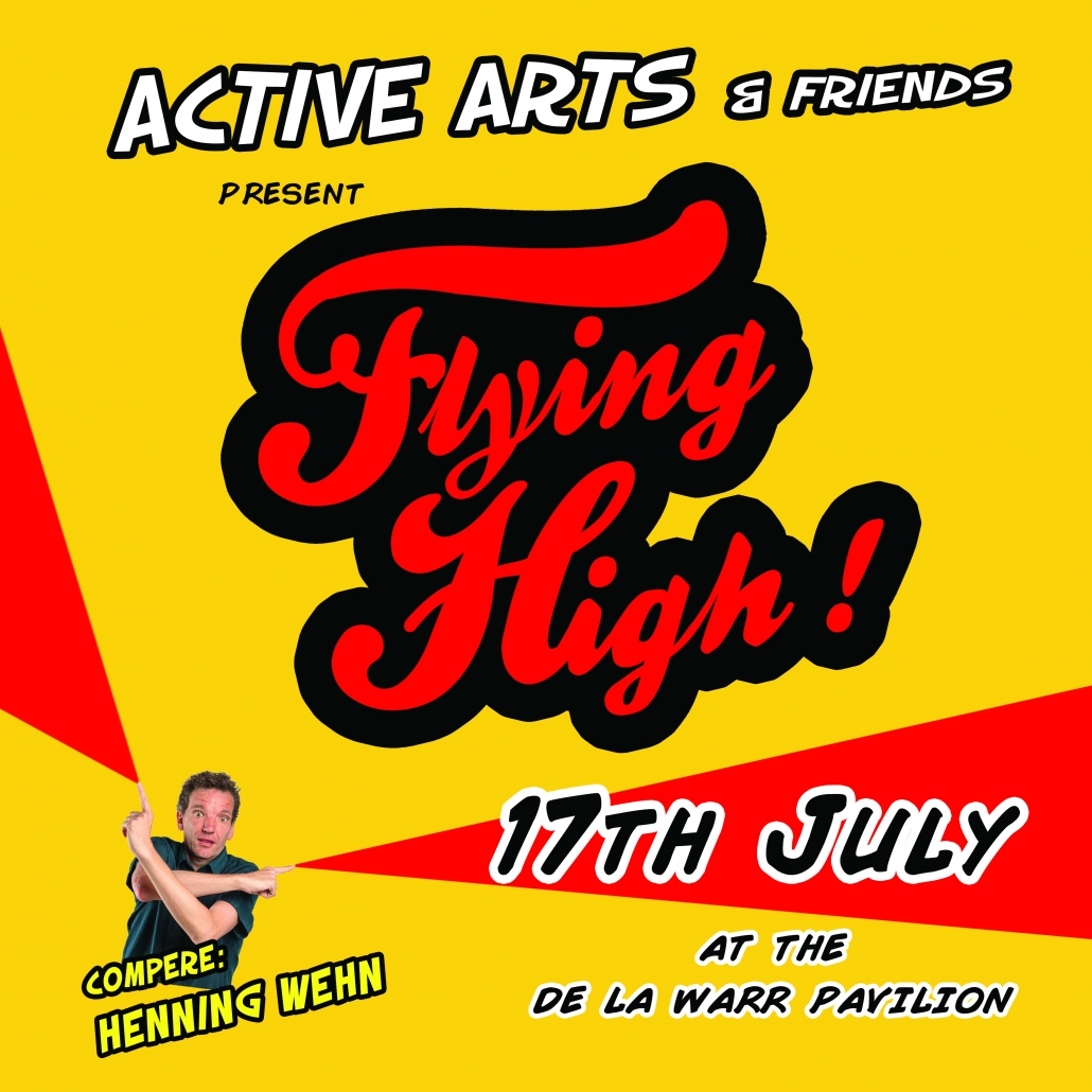 Flying High poster, red and yellow, featuring compere Henning Wehn, de la warr pavilion 2019