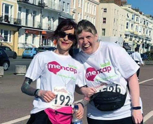 Jean and Hailey pose at the Hastings Half marathon fundraising